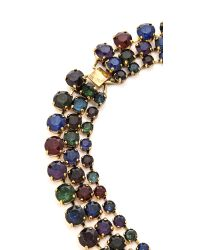 Erickson Beamon | Triple Layer Crystal Necklace - Purple/green/blue | Lyst