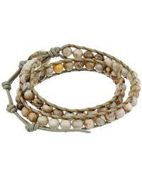 Chan Luu | Metallic 13 1/2' Silver Leaf Jasper/coconut Double Wrap Bracelet for Men | Lyst
