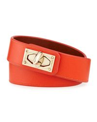 Givenchy | Orange Calf Leather Shark-lock Wrap Bracelet | Lyst