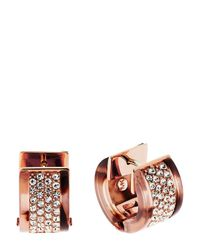 Michael Kors | Metallic Pavé Huggie Earrings | Lyst