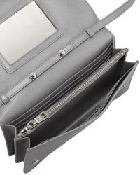 Prada - Gray Saffiano Wallet Crossbody - Lyst