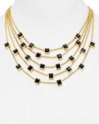 """Diane von Furstenberg Black Swarovski Crystal Cube Statement Necklace, 15"""""""