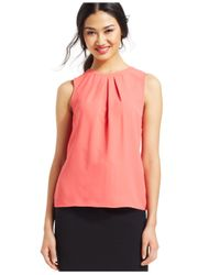 Nine West - Orange Pleated-neck Woven Blouse - Lyst
