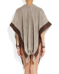 Lisa Marie Fernandez Brown Fringed Cottontoweling Poncho