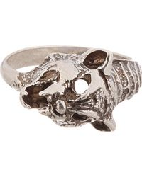 Saint Laurent | Metallic Silver Lynx Ring for Men | Lyst