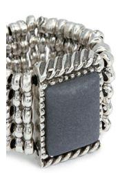 Philippe Audibert Metallic Square Agate Milgrain Elastic Ring