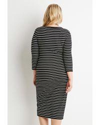 Forever 21 - Black Plus Size Ribbed Knit Stripe Dress - Lyst
