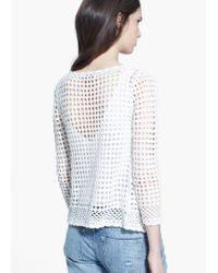 Mango White Cotton Crochet Cardigan