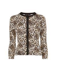 Karen Millen - Multicolor Leopard Print Cardigan - Lyst