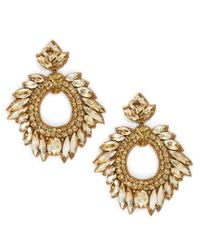 Deepa Gurnani | Metallic Fiesta Bonita Nappa Leather And Crystal Loop Drop Earrings | Lyst
