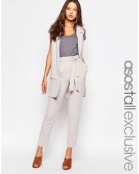 ASOS | Gray Co-ord Belted Slim Leg Tailored Trouser - Grey | Lyst
