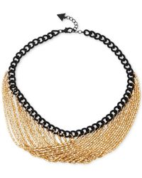 Guess - Black Two-tone Link Chain Necklace - Lyst