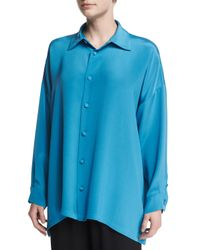 Eskandar - Blue Silk-crepe Button-down Top - Lyst