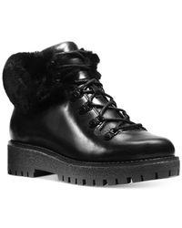 Michael Kors   Black Michael Putnam Shearling-trim Booties   Lyst