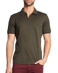 Ferragamo | Green Zip Cotton Polo for Men | Lyst