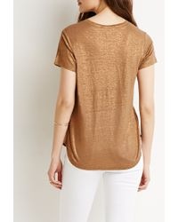 Forever 21 - Brown Contemporary Metallic V-neck Top You've Been Added To The Waitlist - Lyst