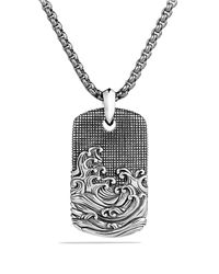David Yurman Gray Waves Tag On Chain for men