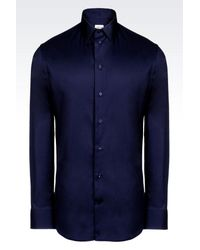 Armani   Blue Shirt In Stretch Cotton for Men   Lyst