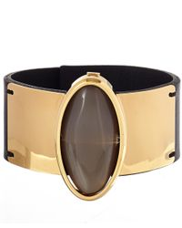 Marni - Metallic Taupe Horn Detail Leather Bracelet - Lyst