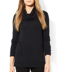 Ralph Lauren | Black Linen-cotton Mesh Sweater | Lyst