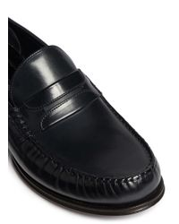 Dolce & Gabbana Blue Leather Penny Loafers for men