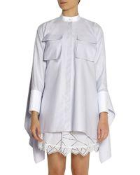 Alexander McQueen Blue Oversized Stretch-Cotton Piquã© Shirt Dress