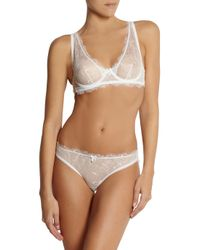 Mimi Holliday by Damaris White Meringue Low-rise Lace And Silk-satin Briefs