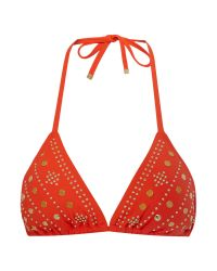 Michael Kors | Orange Gold Disc Embellished Bikini Halter Top | Lyst