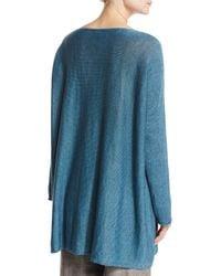Eskandar - Blue Knitted Linen Dolman-sleeve Top - Lyst