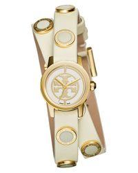 Tory Burch - White 'reva Mini' Logo Dial Double Wrap Leather Strap Watch - Lyst
