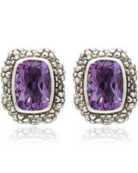 Stephen Dweck Purple Silver Beaded Amethyst Button Earrings