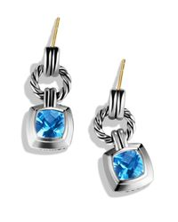 David Yurman Metallic Renaissance Drop Earrings With Blue Topaz