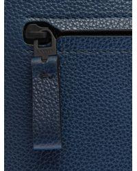 Lanvin Blue Grained Leather Portfolio Pouch for men