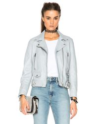 Acne | Gray Mock Leather Jacket | Lyst