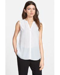 Chelsea28 Nordstrom - White Sleeveless Button Front Shirt - Lyst