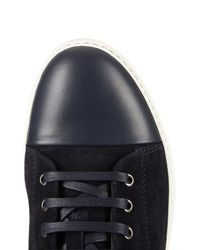 Lanvin Blue Suede and Leather Mid-Top Sneakers for men