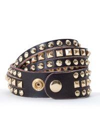 Linea Pelle | Brown Mixed Stud Bracelet | Lyst