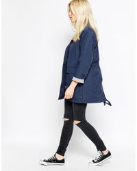 Native Youth - Blue High Collar Mac - Navy - Lyst