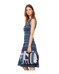 Tory Burch - Blue Smocked Cotton Dress - Lyst