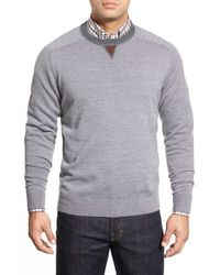 Peter Millar | Gray Suede Trim Merino Wool Sweater for Men | Lyst
