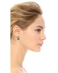 Noir Jewelry Green Sphere Front To Back Earrings - Gold/malachite
