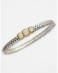 Lord & Taylor | Metallic Sterling Silver And 14k Gold Diamond Bangle Bracelet | Lyst
