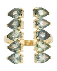 Ileana Makri | Green Gemstone Deco Column Ring | Lyst