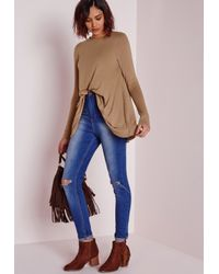 Missguided | Natural Long Sleeve Swing Top Camel | Lyst