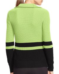 Lauren by Ralph Lauren | Green Striped Cotton Sweater | Lyst