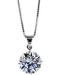 Carat* - White Round 4 Prongs 1ct Solitaire Pendant Necklace - Lyst