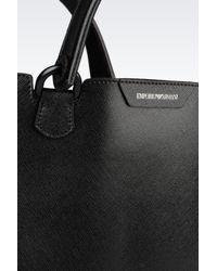 Emporio Armani - Black Shopping Bag In Saffiano Calfskin - Lyst