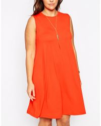 ASOS | Red Sleeveless Swing Dress | Lyst