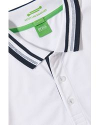 BOSS Green White Slim Fit Golf Polo Shirt 'paule Pro' With Moisture Manager for men