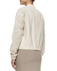 Lafayette 148 New York - Natural Fen Lambskin Leather Mesh-sleeve Bomber Jacket - Lyst